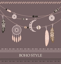 Boho style background with arrows beads vector image