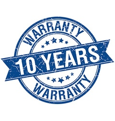 10 years warranty grunge retro blue isolated vector