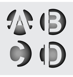 Capital letter a b c d of wide white stripes vector