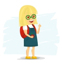 Schoolgirl with backpack vector