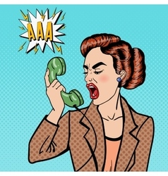 Business Woman Screaming into the Phone Pop Art vector image