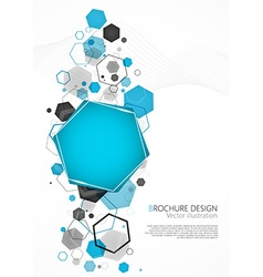 Abstract blue background with hexagon vector image
