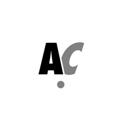 Ac a c black white grey alphabet letter logo icon vector
