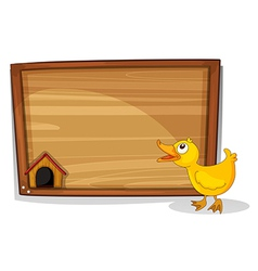 An empty board with a yellow duckling vector image