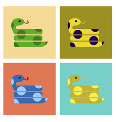 Assembly flat icons reptile snake vector