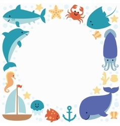 Background wallpaper with sea animals and place vector image