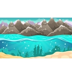 Cartoon Seascape And Mountains vector image