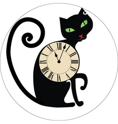Cat with clocks vector image vector image