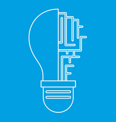 Circuit board inside light bulb icon outline vector