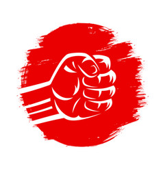 Clenched fist on red brush stroke circle hand vector