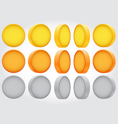 Coin rotation gold copper silver vector
