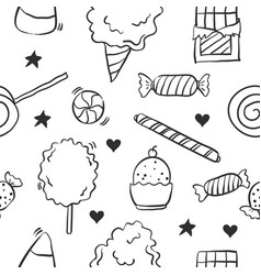 collection of candy various doodles vector image vector image