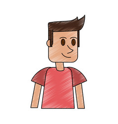Color pencil cartoon front view half body guy with vector