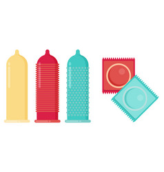 Condom and packages flat vector