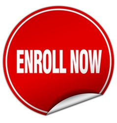 Enroll now round red sticker isolated on white vector