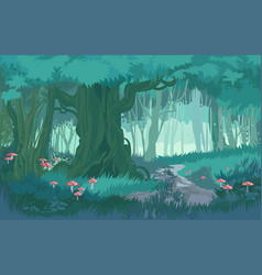 Fabulous shades of blue dusk forest jungle vector
