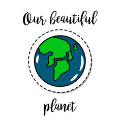 Fashion patch element earth planet vector