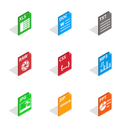 File label icons isometric 3d style vector
