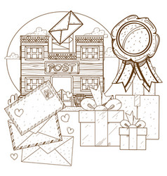 for coloring an ancient post office wild west vector image vector image