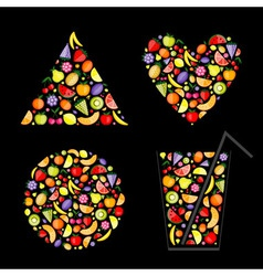 fruits element shapes vector image