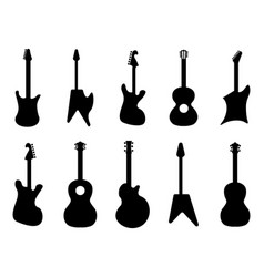 Guitar silhouettes rock acoustic electric vector