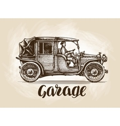 Hand-drawn retro car sketch vector