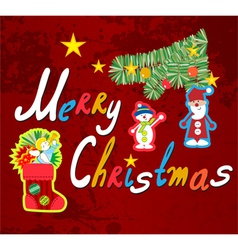 Handwriting Merry Christmas vector image vector image