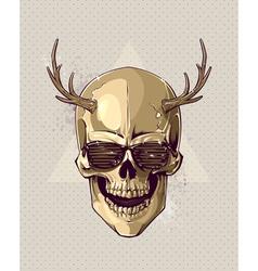 Hipster gold skull vector