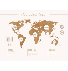 Infographic template with world map in retro style vector image vector image