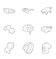 Innovative device icons set outline style vector