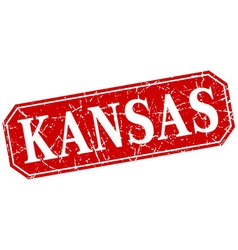 Kansas red square grunge retro style sign vector image
