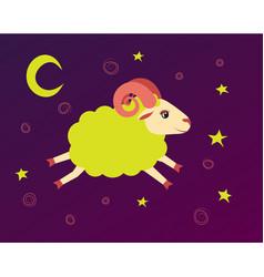 Lamb flies in the starry sky between the stars vector