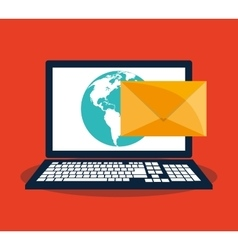 Laptop and envelope of mail concept vector