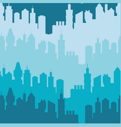 modern city silhouette seamless pattern vector image