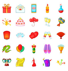 Partying icons set cartoon style vector