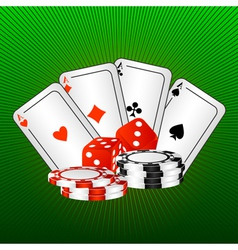 playing cards and dice vector image vector image