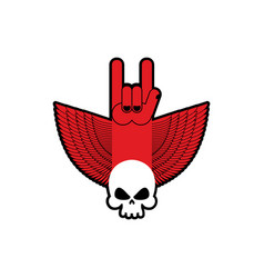 Rock hand and skull symbol of music rock and roll vector