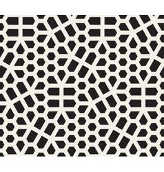 Seamless black and white irregular hexagon vector
