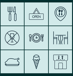 Set of 9 meal icons includes dessert alcohol vector