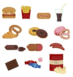 Set of colorful cartoon fast food icons vector image