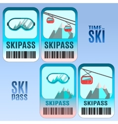 Set of ski pass template design vector image