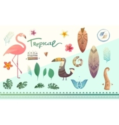 set of tropical plants and animals vector image