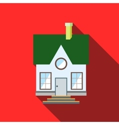 Small house with a green roof icon flat style vector