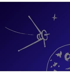 space satellite sketch vector image vector image