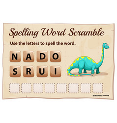 spelling word scrable game with word dinosaur vector image vector image
