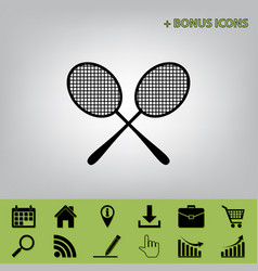Two tennis racket sign black icon at gray vector