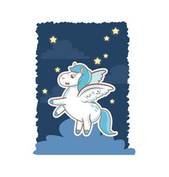 unicorn fantasy toy mystery wings night background vector image