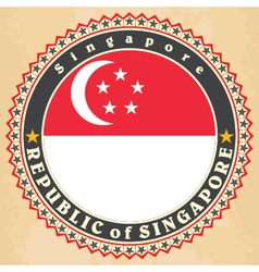 Vintage label cards of Singapore flag vector image