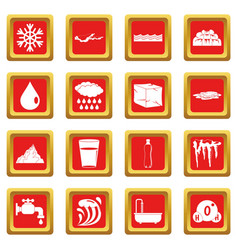 Water icons set red vector