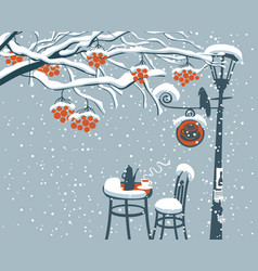 winter street cafe under rowan tree with lamppost vector image